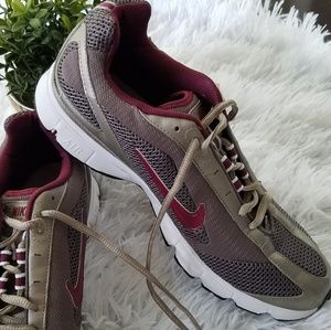Nike Air silver and maroon athletic sneakers